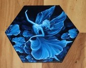 "5-6"" Original Mini Oil Painting Hexagon Flat Panel - Blue Dancing Flower Fairy Fae Fantasy Forest - Small Canvas Wall Art"