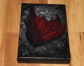 "4x6"" Original Mini Oil Painting - Gray Red Black Fruit Bat Night Forest Creature Vampire Bat Dark Gothic Art - Small Canvas Wall Art"