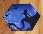 "5-6"" Original Mini Oil Painting Hexagon Flat Panel - Blue Purple Mermaid Underwater Fantasy Creature Ocean Sea - Small Canvas Wall Art"