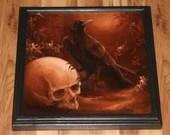 "12x12"" Original Oil Painting - Raven Crow Human Skull Horror Gothic Dark Art - Animal Ornithology Bird Birds Wall Art"