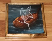 """10x10"""" Original Oil Painting - River Fairy Faerie Fae Pixie Floating on Leaf - Wall Art"""