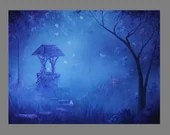 "Art PRINT - Blue Moonlit Enchanted Forest Butterflies Secret Well - Fantasy Landscape Wall Art - Choose Size 4x6"" 5x7"" 8x10"" 12x16"" PRINTS"