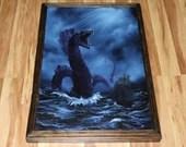"20x30"" Original Oil Painting - Giant Sea Serpent Monster Horror Macabre Dark Ship Ocean Seascape Blue Purple - Giant Large Wall Art"
