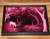 """12x16"""" Original Oil Painting - Pink White Unicorn Magical Horse River Stream Woods Trees - Enchanted Forest Landscape Wall Art Girl's Room"""