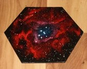 """5-6"""" Original Mini Oil Painting Hexagon Flat Panel - Rpsette Nebula Galaxy Deep Space Outer Space Starry Spacescape - Small Canvas Wall Art"""