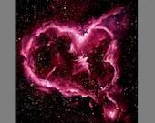 "Art PRINT - Intense Neon Pink Magenta Heart Nebula - Outer Space Galaxy Astronomy Wall Art - Choose Size 8x8"", 10x10"" 12x12"" PRINTS"