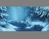 """Art PRINT - Blue Winter Fairy Fae Faerie Ice Snow Cold Forest Fantasy - Choose Size 5x10"""", 6x12"""" 8x16"""" PRINTS Landscape Scenery Wall Art"""