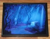 "16x20"" Original Oil Painting - Blue Purple Enchanted Forest Moonlit Night Dark Art - Fantasy Landscape Wall Art"