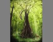 "Art PRINT - Enchanted Dark Forest Dragon Hunting Deer Green Trees -  Fantasy Landscape Wall Art - Choose Size 4x6"" 5x7"" 8x10"" 12x16"" PRINTS"