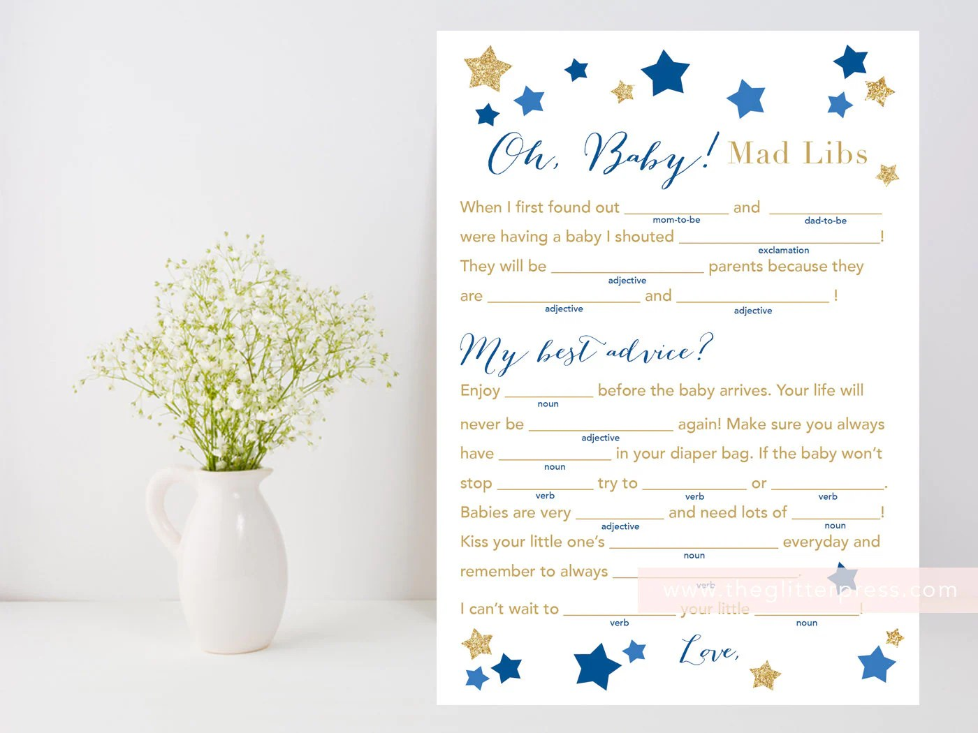 Baby Shower Mad Libs Oh Baby Printable Game Baby Fill In