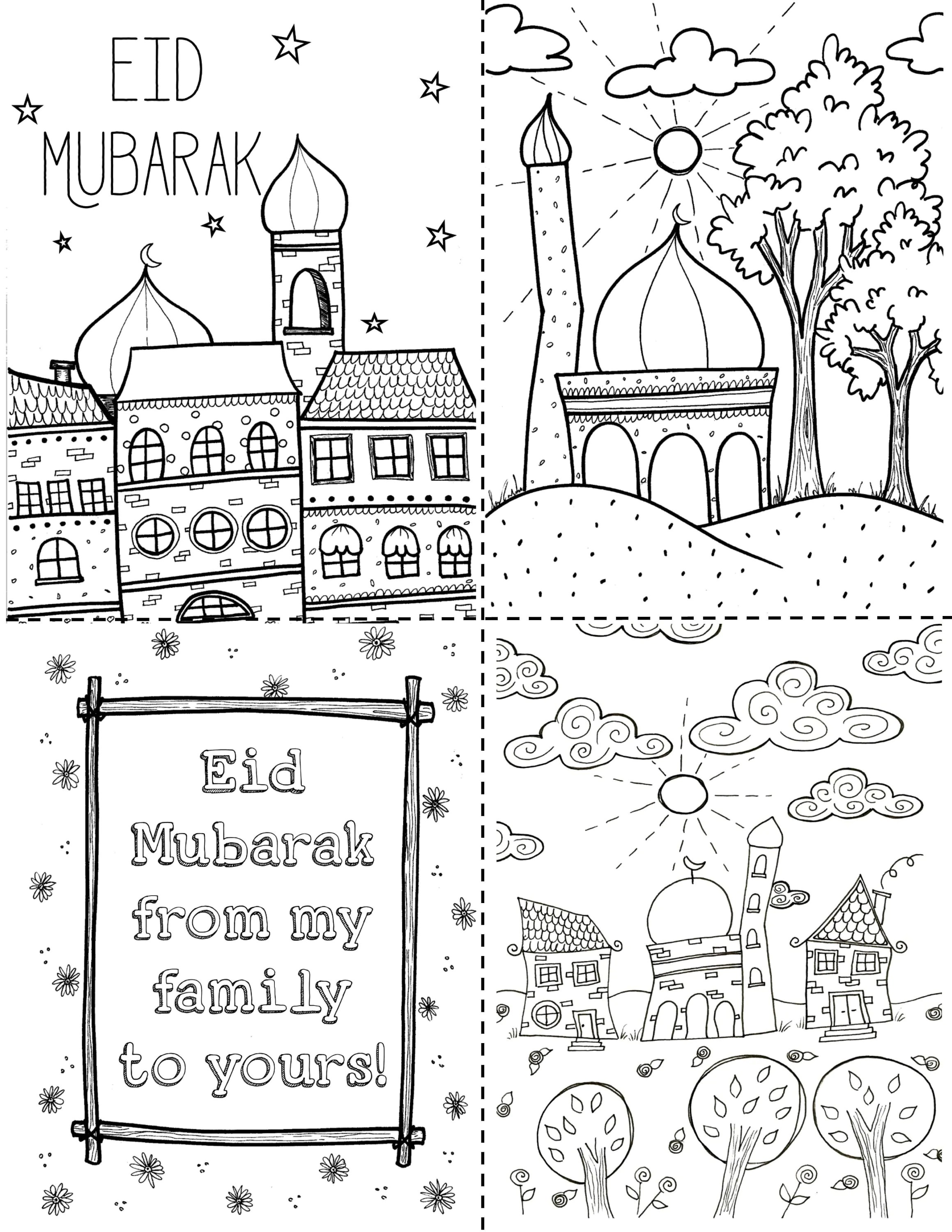 Eid Mubarak Printable Coloring Postcard Eid Decoration
