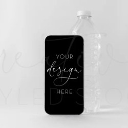Iphone Mockup Water Bottle Minimal Styled Iphone Screen Etsy