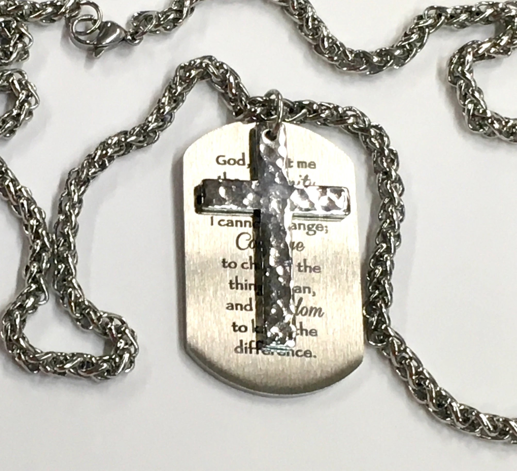 Serenity Prayer Necklace Handmade Hand Hammered Cross