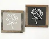 Peony Spring Decor Wooden Sign