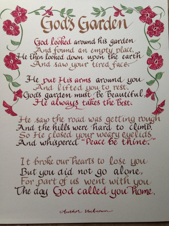 Memorial Poem Gods Garden Funeral Poem 11 X 14 Hand