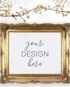 Gold Christmas Themed Frame Mockup On White Desk Styled Etsy