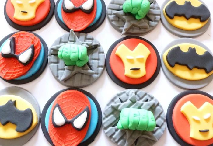 Super Hero Fondant Cupcake Toppers Batman Spiderman Etsy
