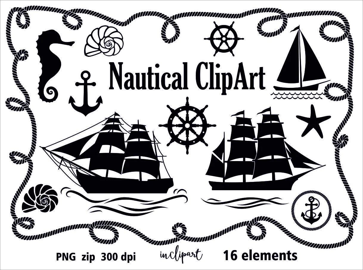 Nautical Clip Art Sail Ship Anchor Seashell Wheel Rope
