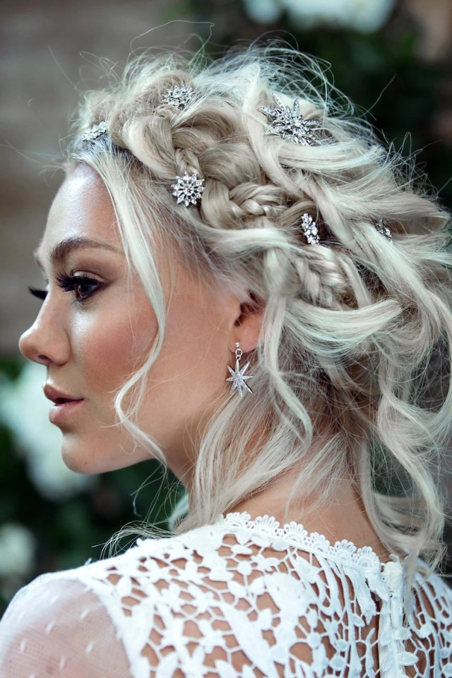 crystal star hair pins - wedding hair accessory -silver bridal hair pins - modern wedding dress - bridesmaids hair accessories -