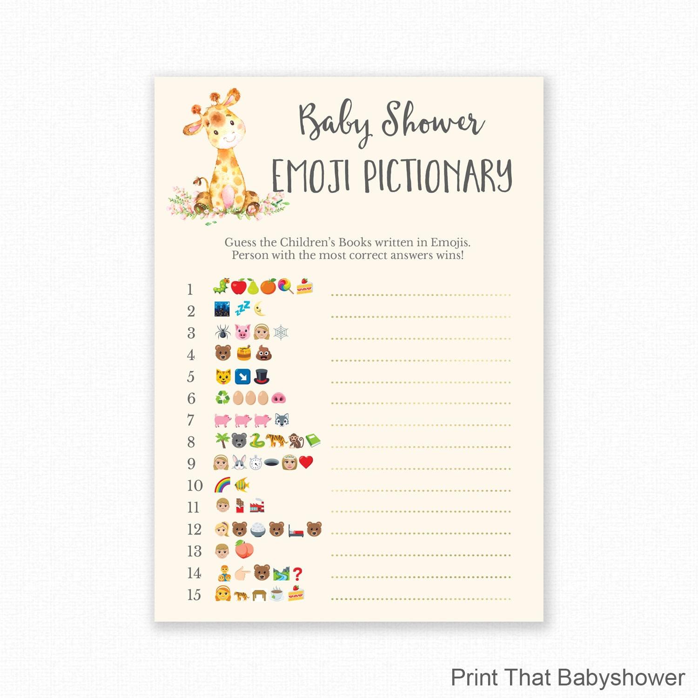Baby Shower Games Giraffe Baby Shower Emoji Pictionary