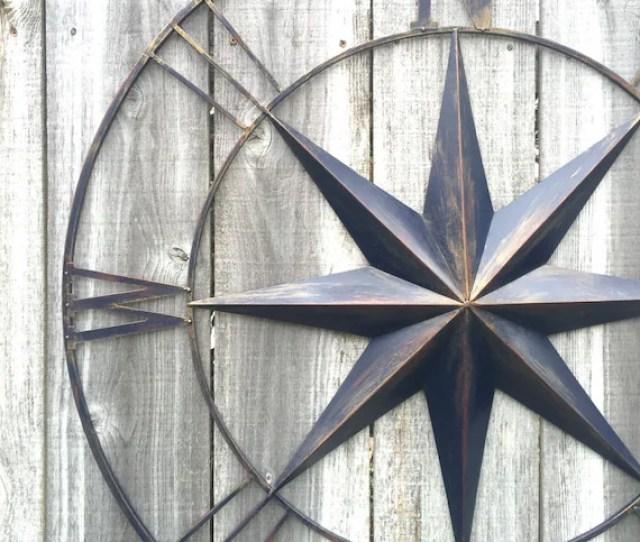 Nautical Metal Compass Compass Wall Art Metal Wall Art Navy Etsy