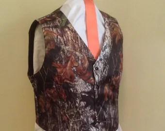 TWO Colored Mens CAMO Vest PICK Your Trim Color Custom