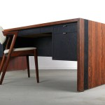 Mid Century Modern Rosewood Laminate And Slate Executive Desk