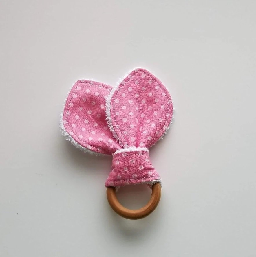 Pink polka dot teething rings/ mini teethers/ baby girl image 1