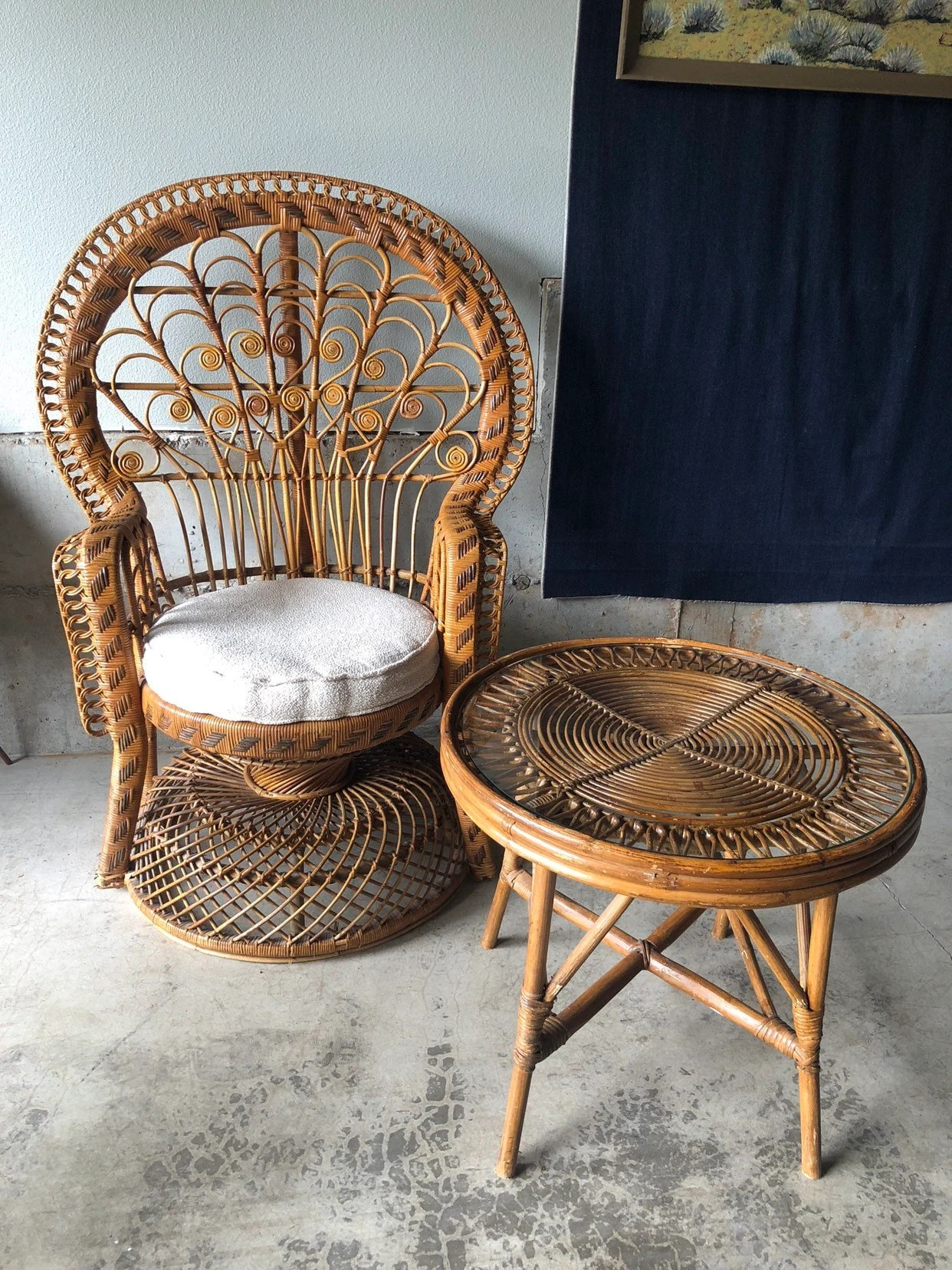 Peacock chair   Etsy Vintage Mid Century 1970s Wicker and Rattan Peacock Chair Scroll Chair and  Side Table