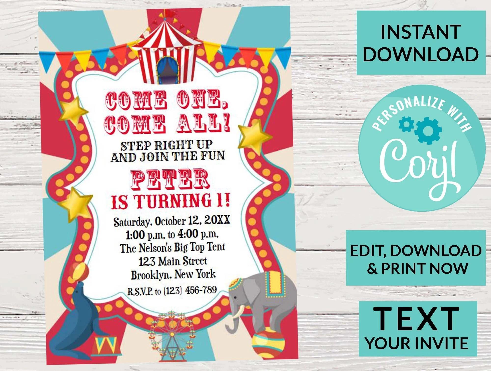 carnival invitations etsy