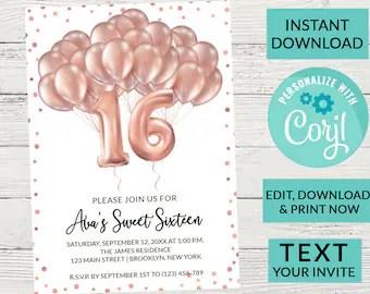 sweet 16 invitation printable etsy