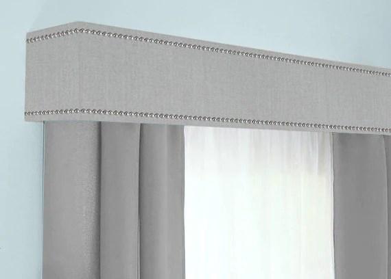 custom cornice board pelmet box window treatment gray with nailhead trim custom valance box