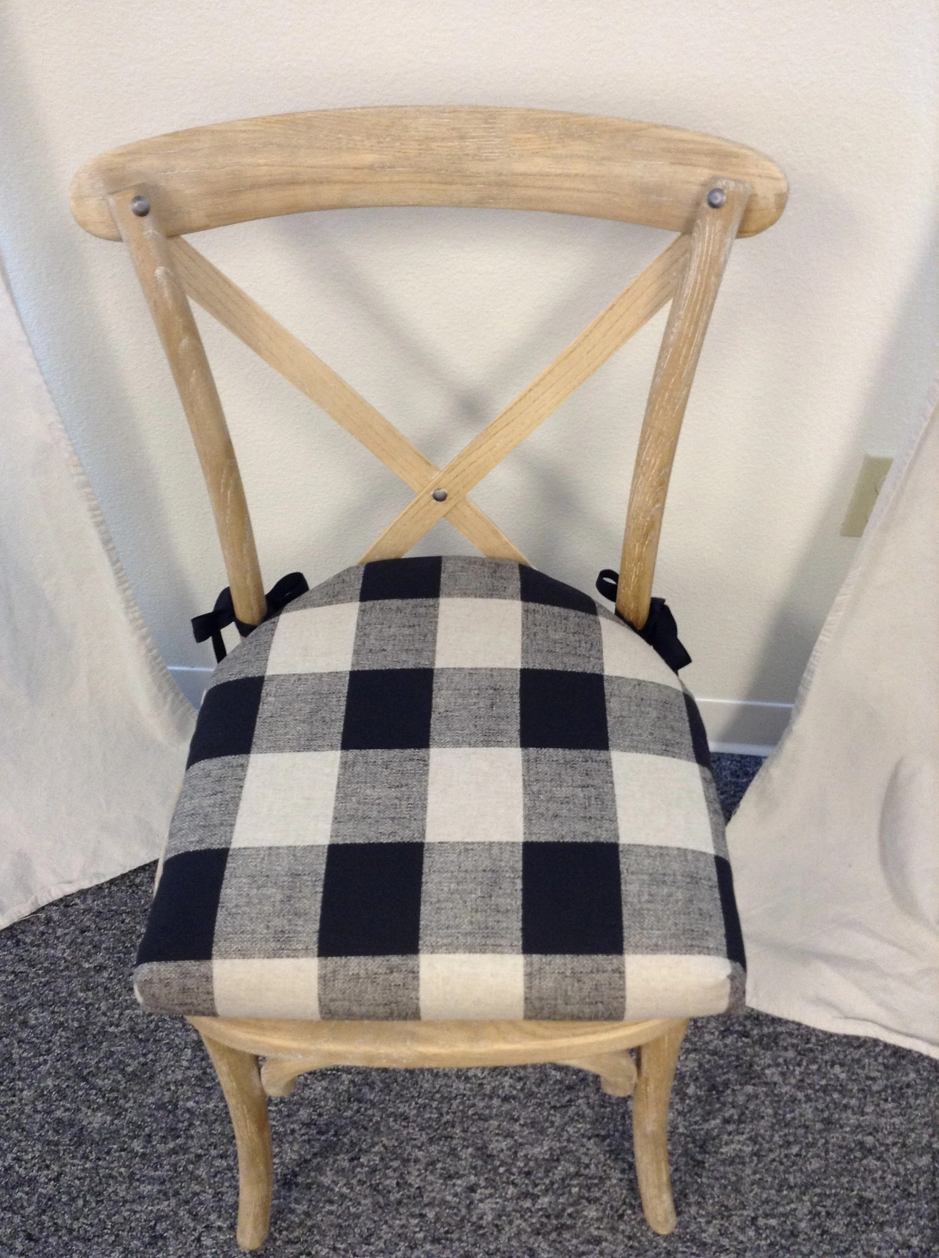 Chair Cushions With Rounded Back And Ties Buffalo Check Black Etsy
