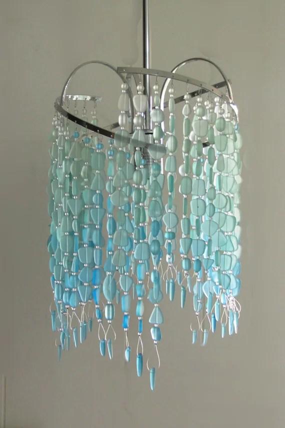 sea glass pendant hanging light kitchen island pendant beach glass chandelier turquoise glass beachy light coastal decor crystal chandelier