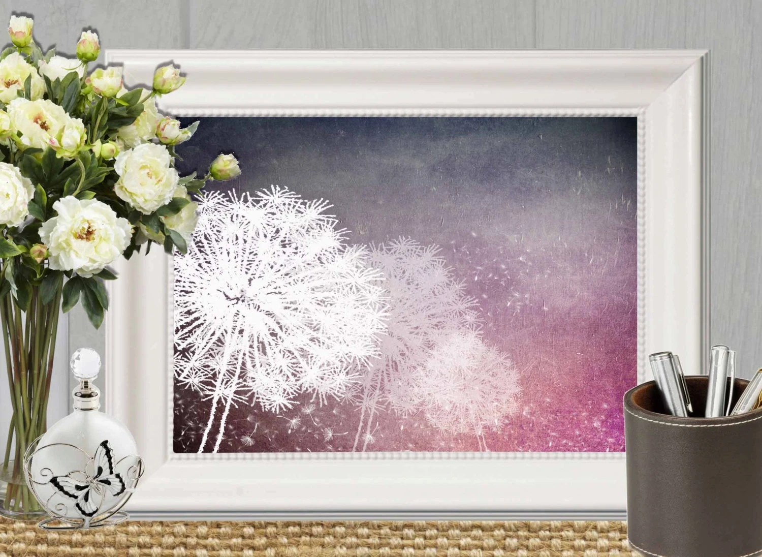 Dandelion Wall Art Print Purple Home Decor Dandelion Printable Wall Decor Floral Bedroom Art Modern Abstract Flower Art Instant Download
