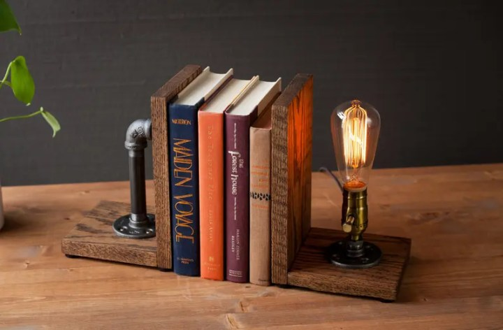 industrial lamp bookend