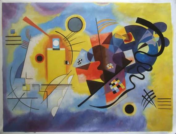 wassily kandinsky bleu rouge jaune 1925 reproduction de peinture a l huile sur toile de lin qualite artisanale