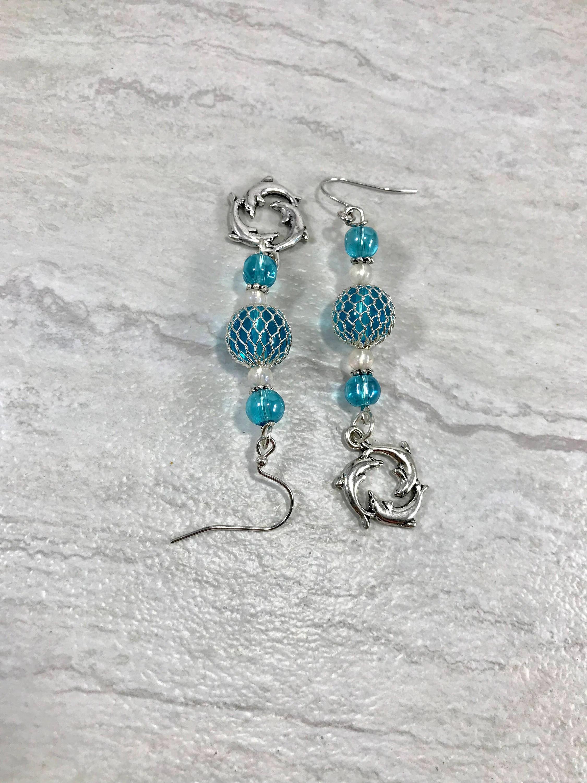 Teal Blue Glass Float Dolphin Earrings Caribbean Blue