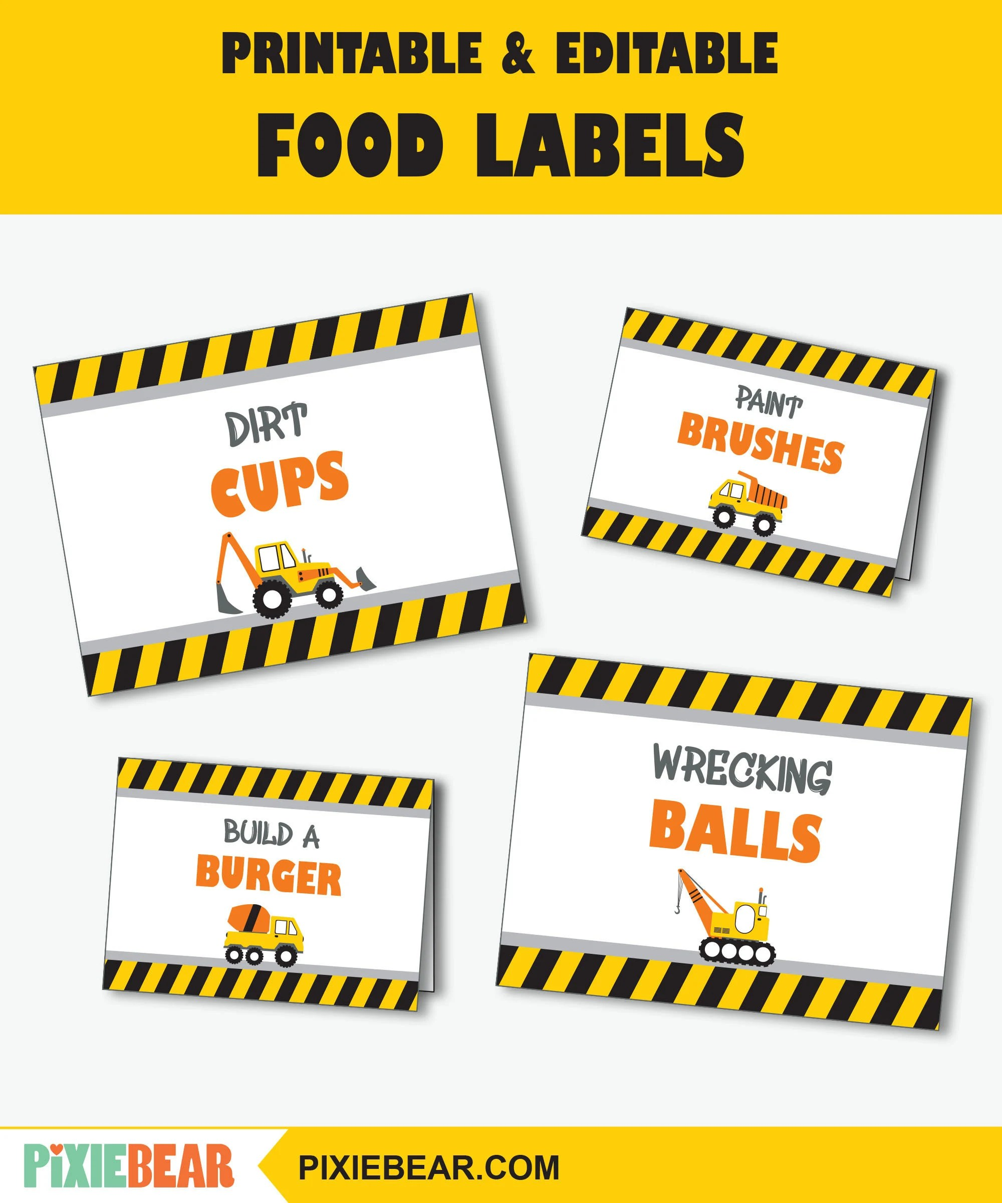 printable construction party food tent