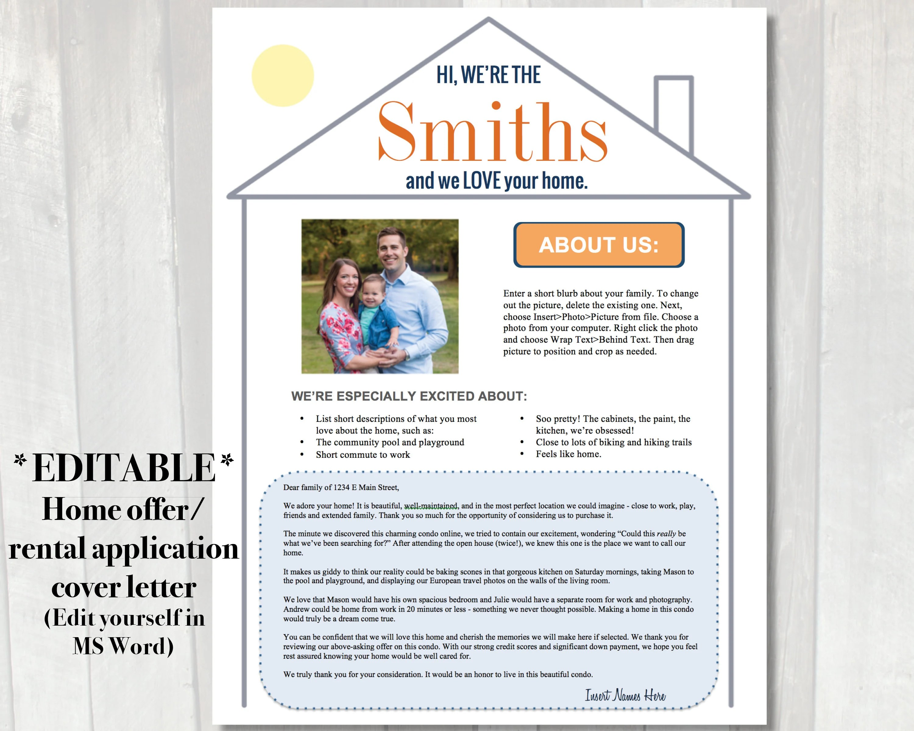 Buyer may have a problem while dealing or competing with all cash buyers. Editable Home Offer Letter Customizable Cover Letter For Etsy