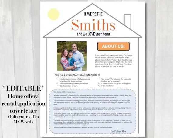 Editable Home Offer Letter Customizable Cover Letter For Etsy