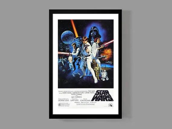 star wars movie poster print a new hope original reproduction luke skywalker han solo darth vader princess leia