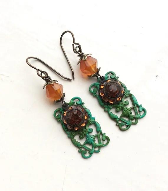 Orange and green filigree earrings