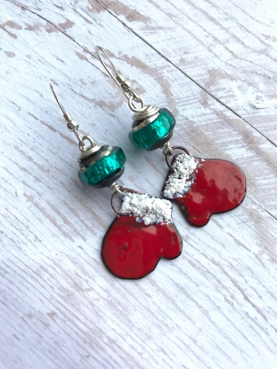 Christmas mitten earrings