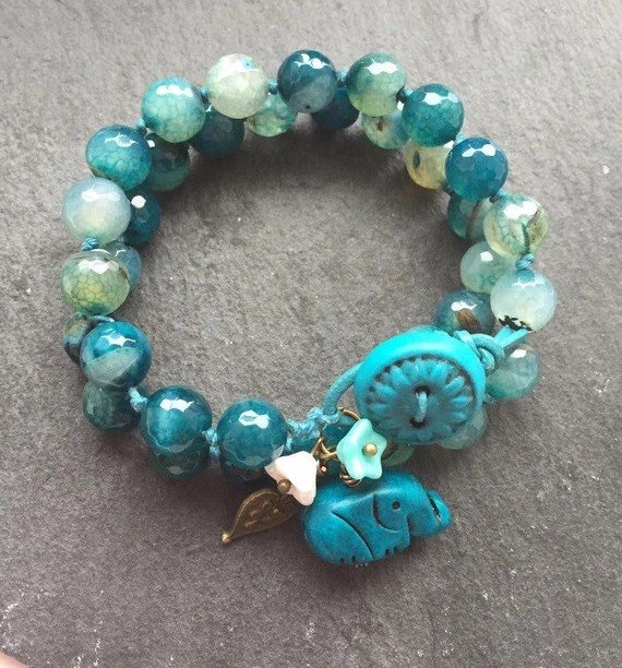 Teal gemstone bracelet