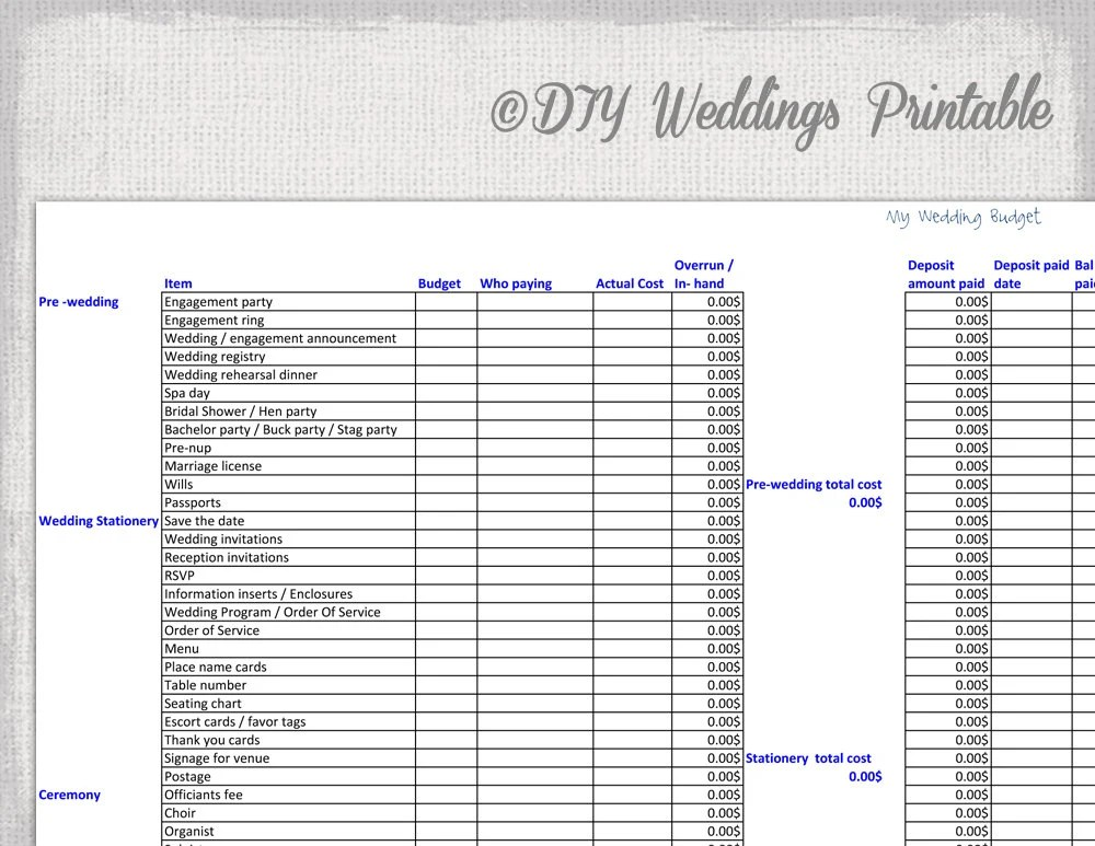 Wedding Budget Spreadsheet Printable Wedding Budget