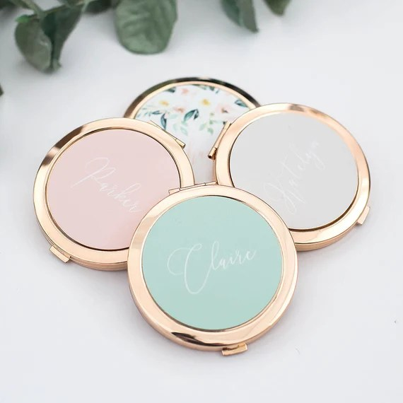 Personalised Gold Compact Mirror