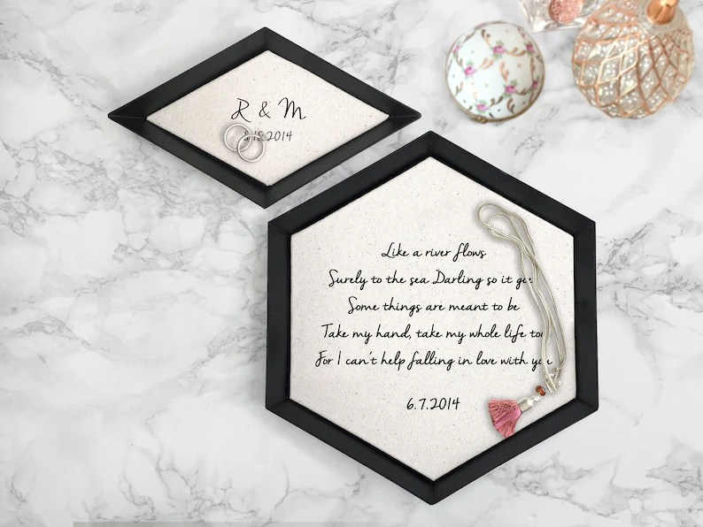 Cotton Tray with Vows or Song  2nd Anniversary Gift  Cotton GIFT SET (Small+Med)