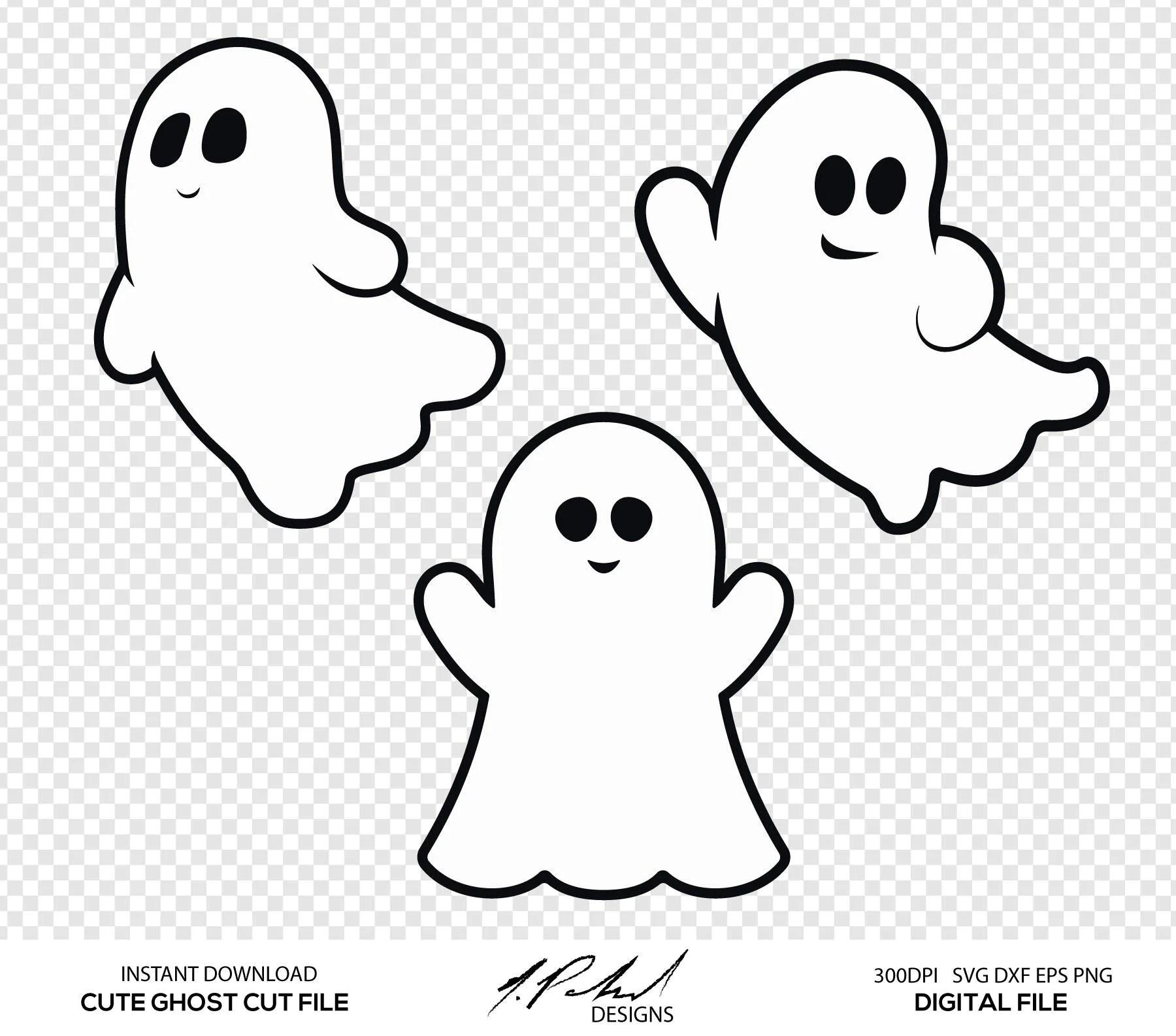 Cute Ghost Digital Cut Files Digital Files Ghost Svg