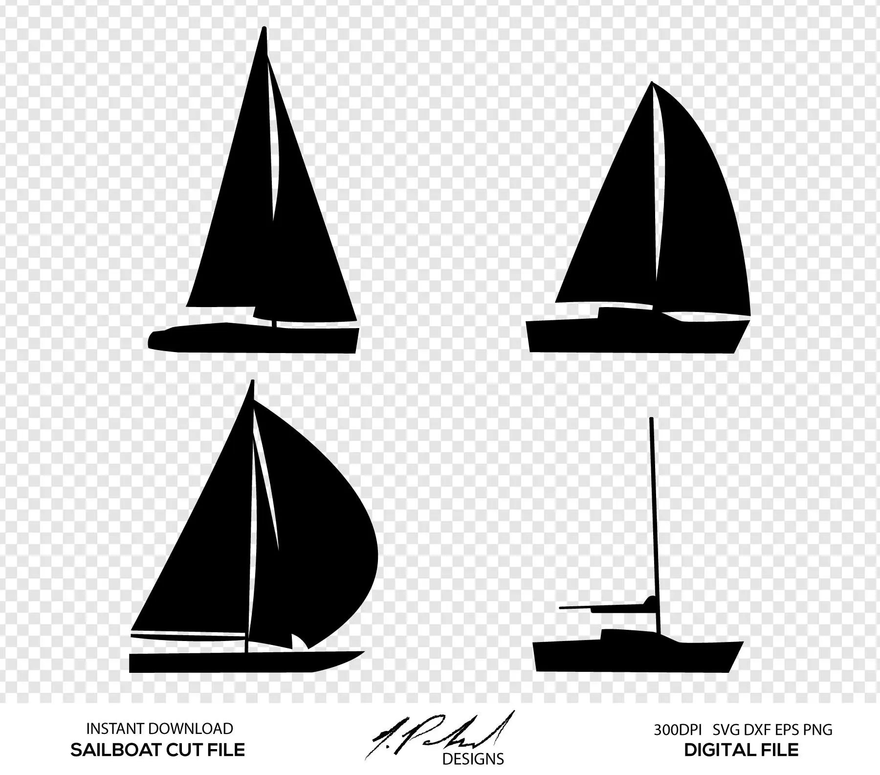 Sailboat Digital Cut Files Digital Files Sailboat Svg